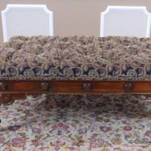 Theodore Alexander Tufted Upholstered Ottoman Bench W/ Game Table Drawer ~  $450.00
