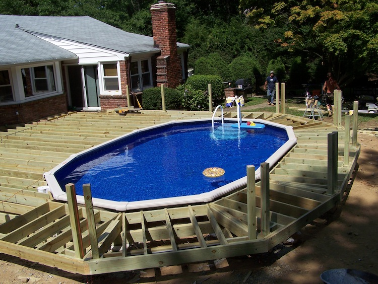 Deck restoration bergen county nj composite decks wood for Above ground pool decks nj