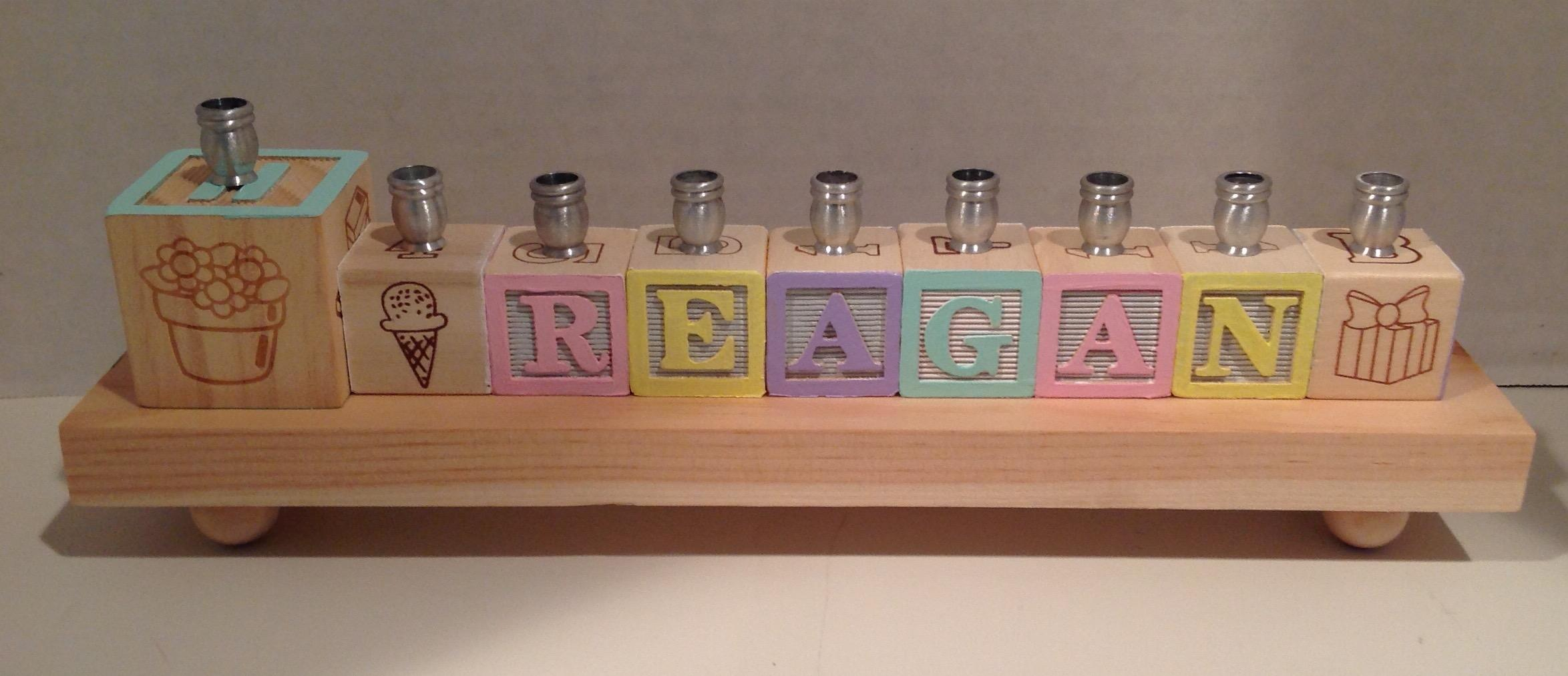 Wooden alphabet block menorah pastel negle Choice Image