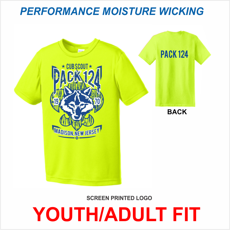 MADISON CUB SCOUTS PACK 124: SAFETY YELLOW PERFORMANCE T-SHIRT